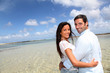 Closeup of happy couple on honeymoon travel