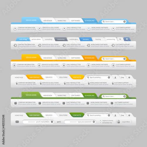 Web site navigation elements with icons:Navigation menu bars