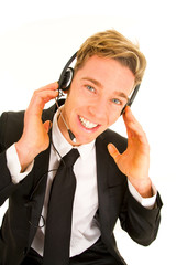 businessman with headset and microphone customer service opearto