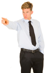 businessman pointing his index