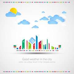 Funny city theme background with sun and clouds.