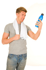 young man with energy drink