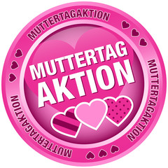 Button Muttertagaktion Herzen pink