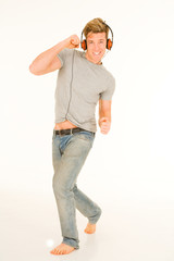 young man with headphones dancing