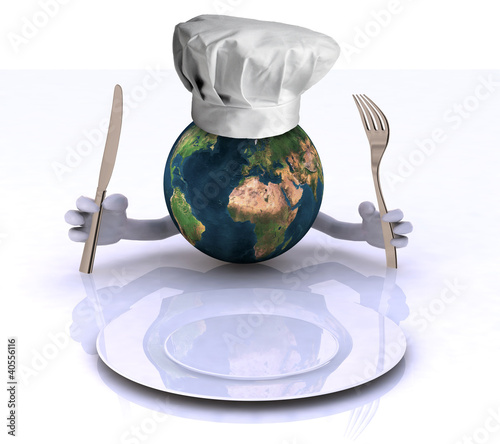the world with hands and utensils