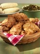 Fried Chicken with Corn and Collard Greens