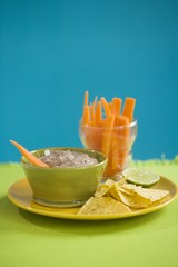 Black Bean Dip with Tortilla Chips and Carrots