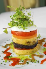 Grilled Polenta Timbale with Eggplant, Tomato and Goat Cheese