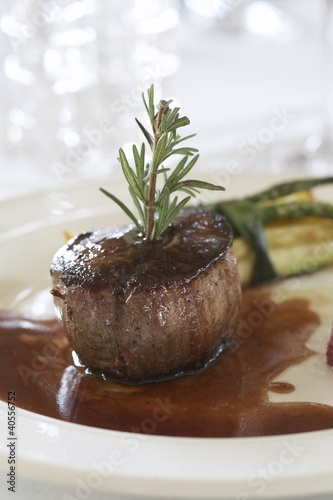 Filet mignon with rosemary and gravy