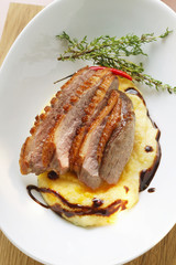 Duck breast on polenta