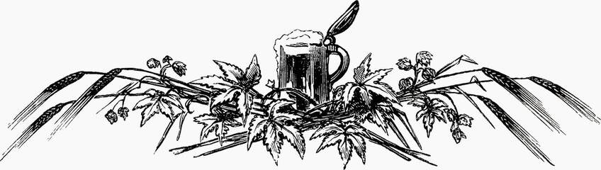 Tankard with hops and ears of corn (illustration)