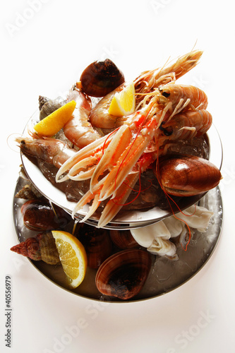 Seafood on tiered stand