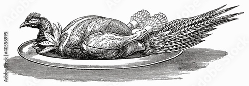 Pheasant on silver platter (illustration)