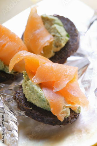 Pumpernickel rounds with salmon