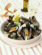 Mussels in dill sauce; white wine; baguette