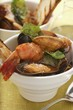 Fish soup with mussels, shrimps and tomatoes