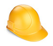 Yellow hardhat 3D. Construction tool. Icon isolated on white bac