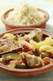 Chicken ragout with courgettes and lemons; couscous (Morocco)