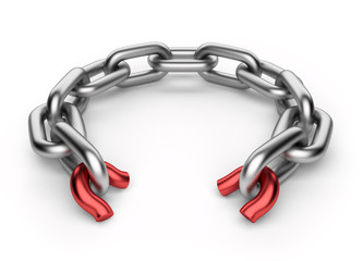 Breaking chain. Weak link concept. 3D illustration isolated on w