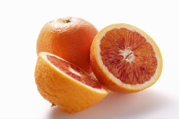 Whole and half blood oranges