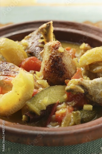 Chicken ragout with courgettes, tomatoes and lemons (Morocco)