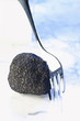 Black truffle with fork