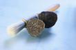 Black truffle, halved, with truffle brush