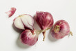Red onions, one halved