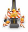 Under construction of road 3D. Build concept. 3D illustration is