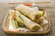 Spring rolls with cucumber and dip