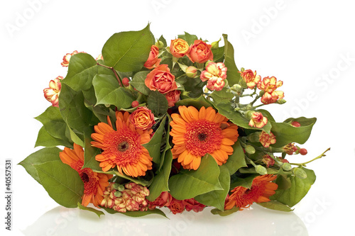Bouquet of orange flowers on a white background