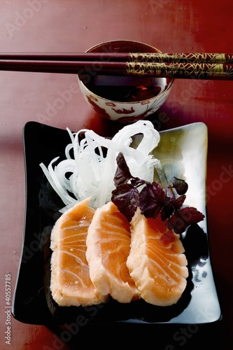 Salmon sashimi with radish (Japan)