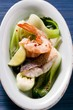 Shrimps and fish with pak choi