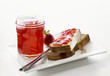 Strawberry jam in jar & on Blatz (sweet yeasted white bread)