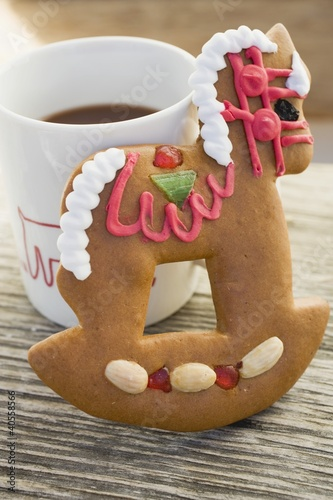 Gingerbread rocking horse and mug of cocoa