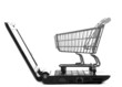 Online shopping. Shopping cart with notebook on the white.