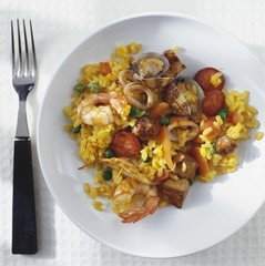 Paella (Saffron rice with meat, poultry, seafood)