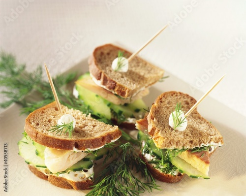 Smoked trout and cucumber sandwiches