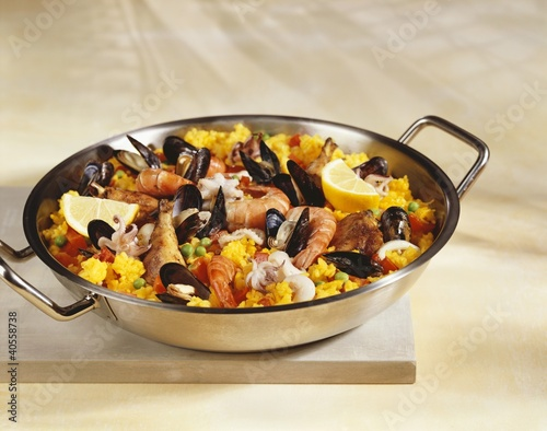 Paella in pan
