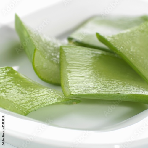 Aloe vera leaves, sliced open and cut into pieces