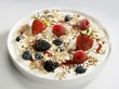 Yoghurt with berries, linseed, rolled oats and oat bran