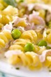 Fusilli with ham and peas