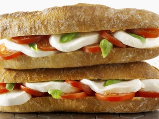 Two mozzarella and tomato baguettes