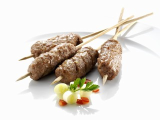 Cevapcici (Minced beef and lamb on skewers)