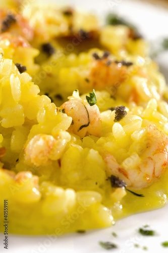 Saffron risotto with shrimps