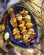 Grilled poultry and vegetable kebabs