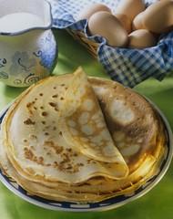 Pancakes, eggs and milk