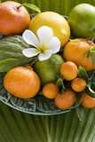 Assorted citrus fruit with leaves and plumeria