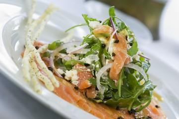 Smoked salmon with rocket