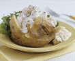 Baked potato with prawns and cottage cheese